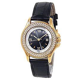 Mauboussin Automatic Diamonds 18k Yellow Gold Leather Black Ladies Watch R.02369