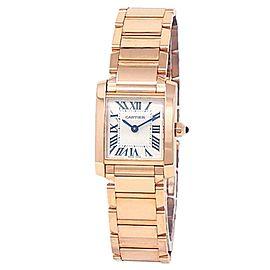 Cartier Tank Francaise 18k Rose Gold Quartz Silver Ladies Watch WGTA0029