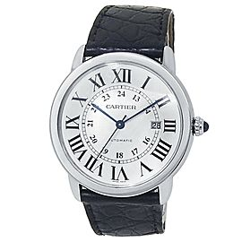 Cartier Ronde Solo Stainless Steel Leather Automatic Silver Men's Watch WSRN0022