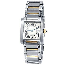 Cartier Tank Francaise 18k Yellow Gold Steel Quartz White Ladies Watch W51012Q4