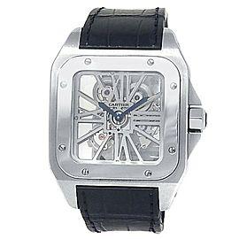 Cartier Santos 100 Palladium Black Leather Manual Skeleton Men's Watch W2020018