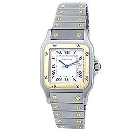 Cartier Santos Galbee Stainless Steel 18k Yellow Gold Auto White Ladies Watch
