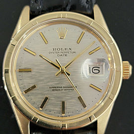 Mens Rolex Oyster Perpetual Date 1501 35mm 14k Solid Gold Automatic 1970s RA220