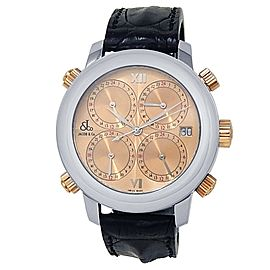 Jacob & Co Five Time Zone Stainless Steel Rose Gold Auto Salmon Ladies Watch H24