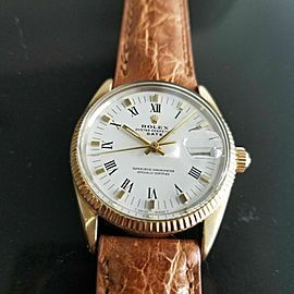 Mens Rolex Oyster Date 1550 34mm Gold Capped Automatic Vintage 1970s RA137TAN