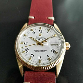Mens Rolex Oyster Date 1550 34mm Gold Capped Automatic 1970s Swiss RA137RED