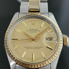 Mens Rolex Oyster Perpetual Date 1505 35mm 14k Gold ss Automatic 1970s RA165