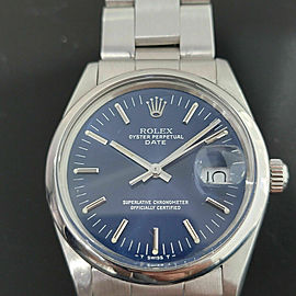 Mens Rolex Oyster Perpetual Date 15000 35mm Automatic Blue Dial 1980s RA167