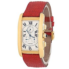 Cartier Tank Americaine 18k Yellow Gold Red Leather Quartz White Mens Watch 1730