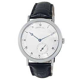 Breguet Classique 18k White Gold Leather Auto Silver Men's Watch 5140BB/12/9W6