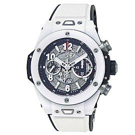 Hublot Big Bang Unico White Ceramic Rubber Skeleton Men's Watch 411.HX.1170.RX