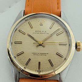 Mens Rolex Oyster Perpetual Ref 1003 34mm 14k SS Automatic 1960s Vintage RA174