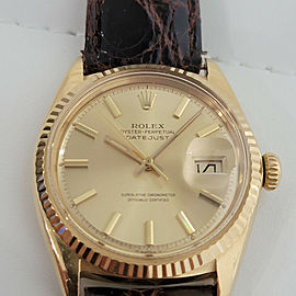 Mens Rolex Oyster Datejust 1601 36mm 18k Gold Automatic 1960s Vintage RJC128