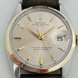 Mens Rolex Oyster Perpetual Date 14k SS 1500 35mm Automatic 1960s Vintage RA182