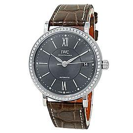 IWC Portofino Stainless Steel Brown Leather Auto Diamonds Grey Watch IW458104