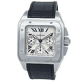 Cartier Santos 100 XL Stainless Steel Leather Auto Silver Men's Watch W20090X8