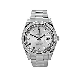 Rolex Datejust 41mm Stainless Steel Silver Diamond Dial116334 Oyster