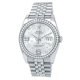 Rolex Datejust Stainless Steel Jubilee Diamond Silver Floral Ladies Watch