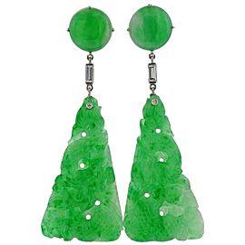 Platinum Diamond Carved Jade Drop Earrings