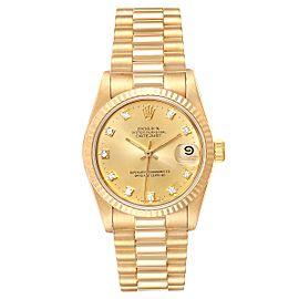 Rolex President Datejust 31 Midsize 18K Gold Diamond Watch 68278