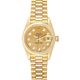 Rolex President Datejust Yellow Gold Diamond Ladies Watch 69178
