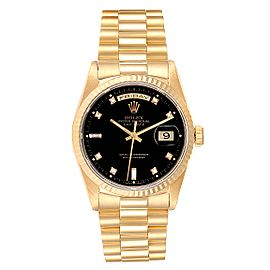 Rolex President Day-Date 36 Yellow Gold Diamond Mens Watch 18238