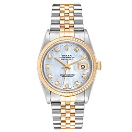 Rolex Datejust Steel Yellow Gold MOP Diamond Dial Mens Watch 16233