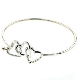 TIFFANY & Co Silver925 / K18 Yellow Gold Triple heart combination Bangle TBRK-376