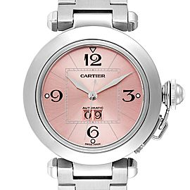 Cartier Pasha Big Date 35mm Pink Dial Steel Ladies Watch W31058M7