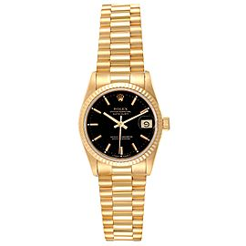 Rolex President Datejust Midsize Black Dial Yellow Gold Ladies Watch 68278