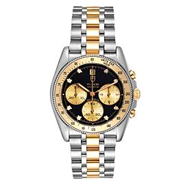 Tudor Monarch Black Diamond Dial Steel Yellow Gold Mens Watch 15903