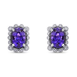 Leibish 18K White Gold with 2.34ct Purple Sapphire and 0.11ctw Diamond Earrings