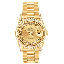 Rolex President Day-Date Yellow Gold Myriad Diamond Mens Watch 18388