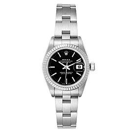 Rolex Datejust 26 Steel White Gold Black Dial Ladies Watch 79174