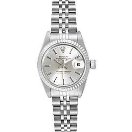 Rolex Datejust Steel White Gold Fluted Bezel Ladies Watch 69174