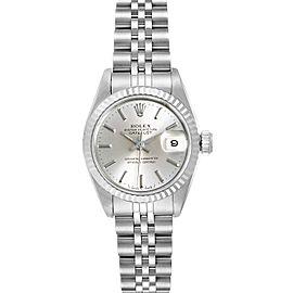 Rolex Datejust Steel White Gold Fluted Bezel Ladies Watch 69174