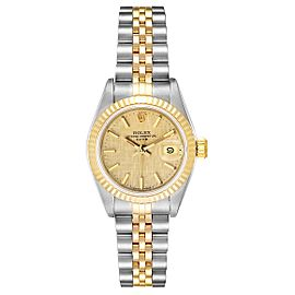 Rolex Datejust 26 Steel Yellow Gold Linen Dial Ladies Watch 69173