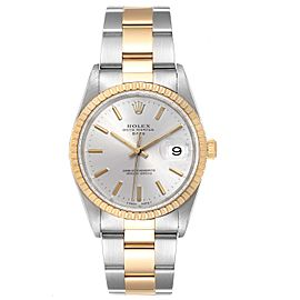 Rolex Date Mens Steel 18k Yellow Gold Silver Dial Mens Watch 15223