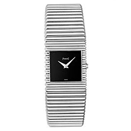 Piaget Polo 18K White Gold Black Dial Mens Watch 9131
