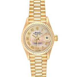 Rolex President Datejust Yellow Gold Decorated MOP Dial Ladies Watch 69178