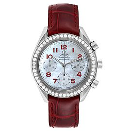 Omega Speedmaster MOP Diamond Red Strap Ladies Watch 3815.79.40