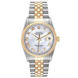 Rolex Datejust Steel Yellow Gold MOP Roman Dial Mens Watch 16233