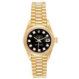 Rolex President Datejust Yellow Gold Black Diamond Dial Ladies Watch 69178