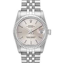 Rolex Datejust Midsize 31 Steel White Gold Silver Dial Ladies Watch 68274