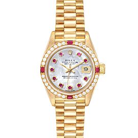 Rolex President Yellow Gold MOP Dial Diamond Ruby Ladies Watch 69068