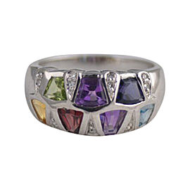 14K White Gold, Diamond & Multi Gemstone Ring