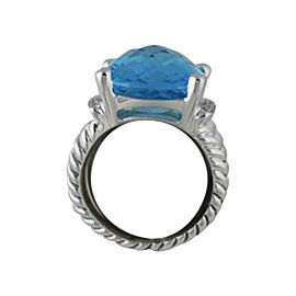 David Yurman Sterling Silver Blue Topaz Diamond Wheaton Ring
