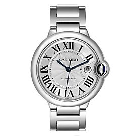Cartier Ballon Bleu 42 Silvr Dial Automatic Steel Mens Watch W69012Z4