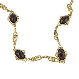 Judith Ripka Arielle 18K Yellow Gold Diamond Smoky Smokey Quartz Pave Necklace