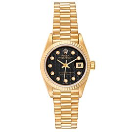 Rolex President Datejust Yellow Gold Onyx Diamond Dial Ladies Watch 69178